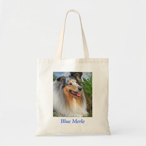 Blue Merle Rough Collie dog shopping tote bag