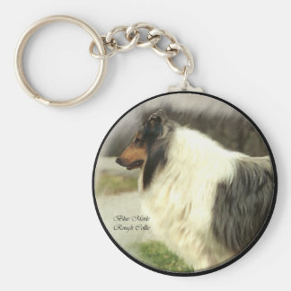 Blue Merle Rough Collie Gifts Art Basic Round Button Key Ring