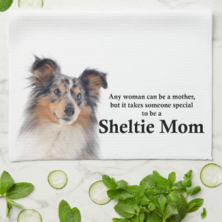 Blue Merle Sheltie Mom Kitchen Towel