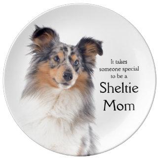 Blue Merle Sheltie Mom Porcelain Plate