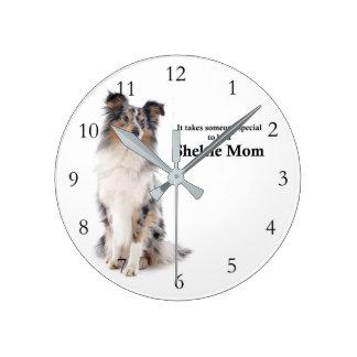 Blue Merle Sheltie Mom Wall Clock