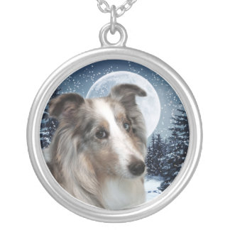 Blue Merle Sheltie Silver Plated Necklace
