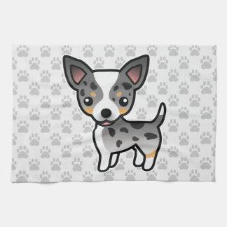 Blue Merle Smooth Coat Chihuahua Cartoon Dog Tea Towel
