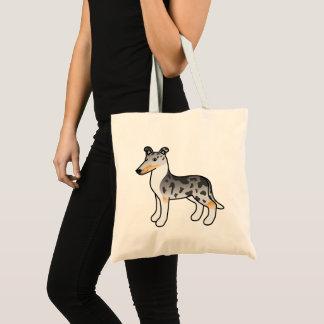 Blue Merle Smooth Collie Cartoon Dog Tote Bag