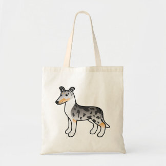 Blue Merle Smooth Collie Cartoon Dog Tote Bag