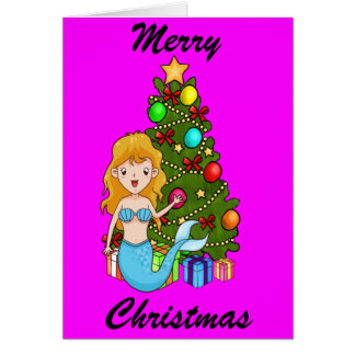 Blue Mermaid and Christmas Tree Card