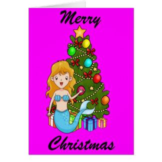 Blue Mermaid and Christmas Tree Greeting Card