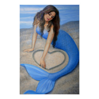 Blue Mermaid Art, Heart in the Sand Poster Print