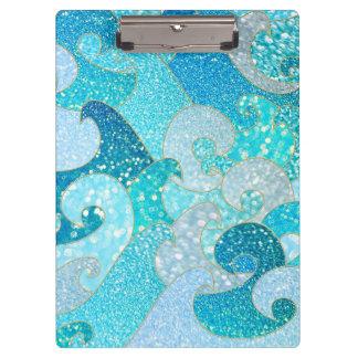 Blue Mermaid Faux Glitter Sea- Teal Gold Ocean Clipboard