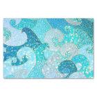 Blue Mermaid Faux Glitter Sea- Teal Gold Ocean Tissue Paper