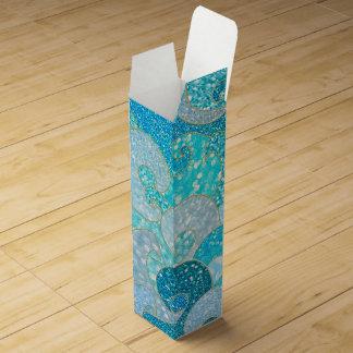 Blue Mermaid Faux Glitter Sea- Teal Gold Ocean Wine Gift Box