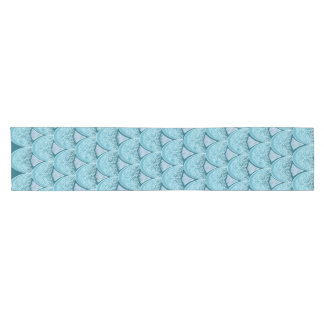 Blue Mermaid scales ,boho,hippie,bohemian Short Table Runner
