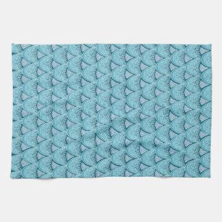 Blue Mermaid scales ,boho,hippie,bohemian Tea Towel