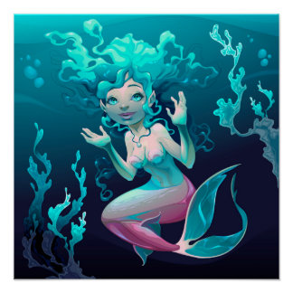 Blue Mermaid Swimming in the Ocean Poster