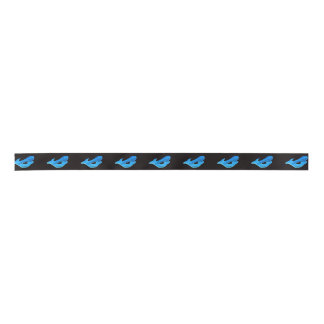 blue mermaids on black satin ribbon