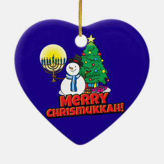 Blue Merry Chrismukkah with Snowman and Menorah Ceramic Ornament