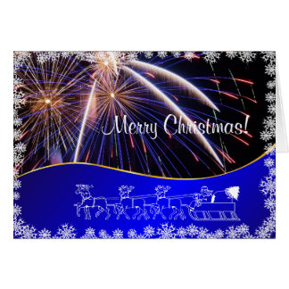 Blue Merry Christmas Fireworks  felicitation Greeting Card