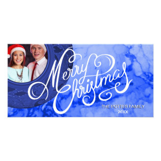Blue Merry Christmas Marble Look Elegant Holiday Card