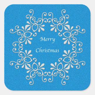 Blue Merry Christmas Sticker Stickers