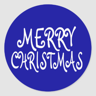 Blue Merry Christmas Stickers