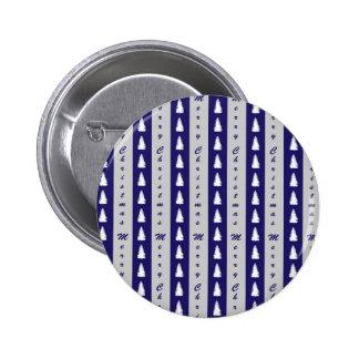Blue Merry Christmas Tree Design 6 Cm Round Badge