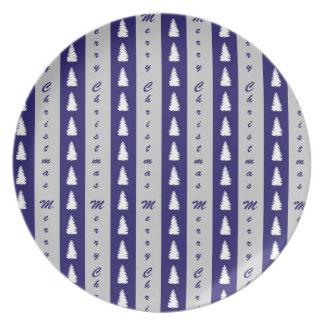 Blue Merry Christmas Tree Design Plate