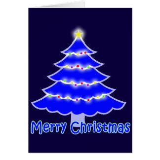 Blue Merry Christmas tree Greeting Card