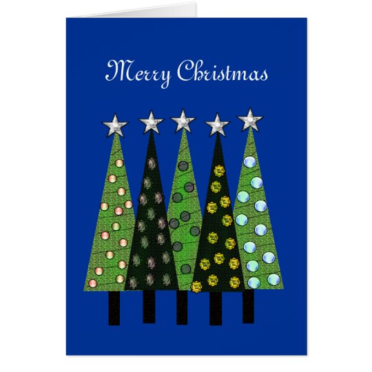 Blue Merry Christmas Trees Card