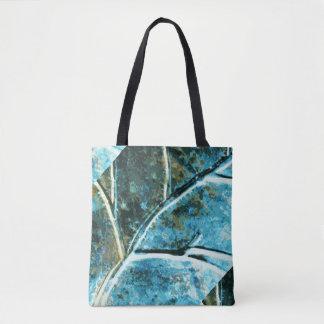 blue metal leaf pattern tote bag