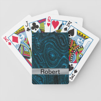 Blue Metallic Alien Flesh With Brushed Metal Bicycle Playing Cards