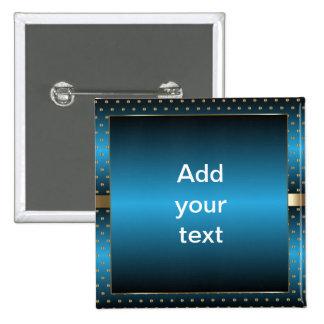 Blue Metallic and Gold Polka Dots | DIY Text 15 Cm Square Badge