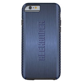 Blue Metallic Brushed Aluminum Geometric Accents Tough iPhone 6 Case