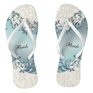 Blue Metallic Floral & Confetti Glitter | Wedding Thongs