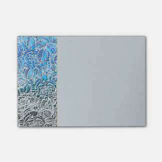 Blue Metallic Fluorescent Flowers Post-it Notes