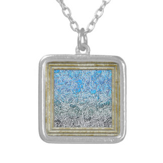 Blue Metallic Fluorescent Flowers Silver Plated Necklace