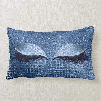 Blue Metallic Glitter Denim Eyes Makeup Lashes Lumbar Cushion