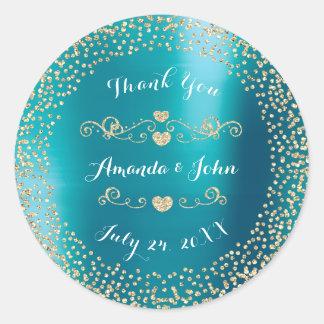 Blue Metallic Glitter Save the Date Thank You Round Sticker