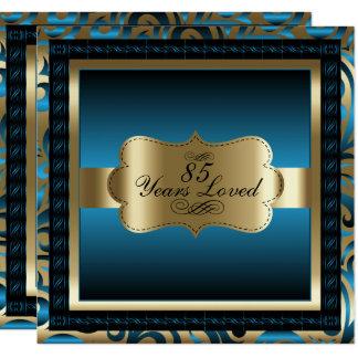 Blue Metallic & Gold - 85th Birthday Party Card
