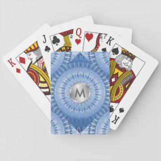 Blue Metallic Mandala Geometric Monogram Playing Cards