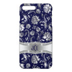 Blue & Metallic Silver Floral Damasks iPhone 8 Plus/7 Plus Case