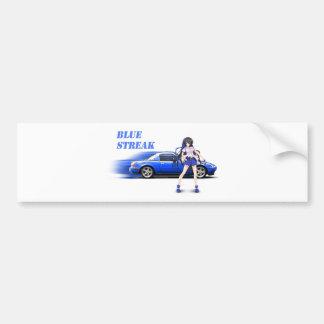 Blue Miata - with anime girl Bumper Sticker