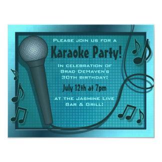 Blue Microphone Karaoke Party Invitation
