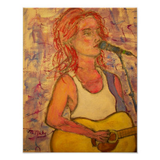 blue microphone songstress art poster