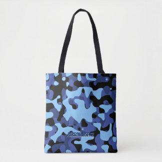 Blue Military Camouflage Tote Bag