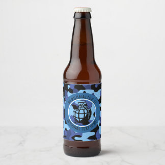 Blue Military Camouflage with grenade Beer Bottle Label