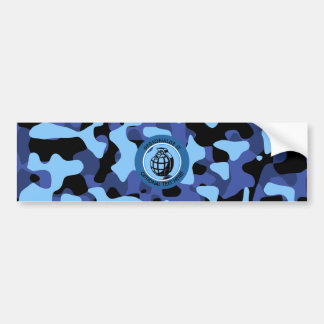 Blue Military Camouflage with grenade Bumper Sticker