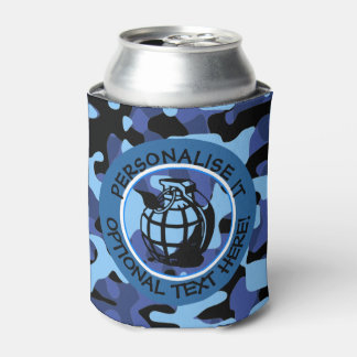 Blue Military Camouflage with grenade Can Cooler