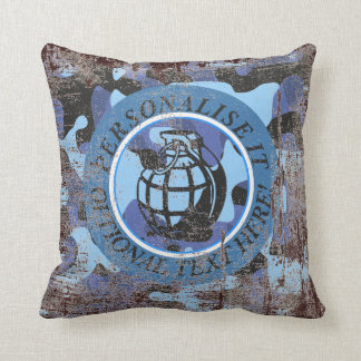 Blue Military Camouflage with grenade Cushion