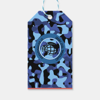 Blue Military Camouflage with grenade Gift Tags