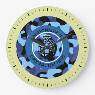 Blue Military Camouflage with grenade Large Clock